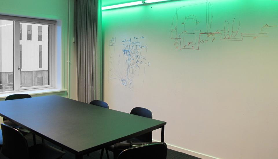 Hele væggen fungerer som whiteboad - plads til kreativ udfoldelse