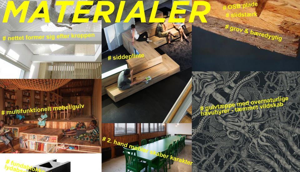 Materialereferencer - en blanding af rå og bløde materialer, nye og brugte møbler giver rummet spænding og karakter