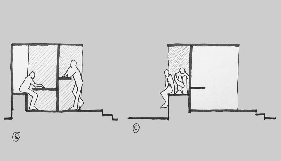 Møblet tilbyder mange måder for kroppen at opholde sig i rummet på